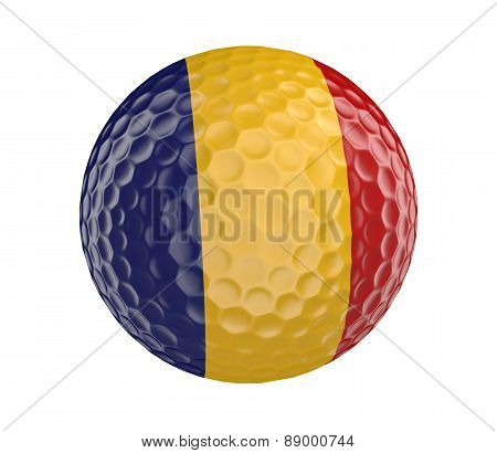 Golf ball 3D render with flag of Romania, isolated on white