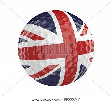 Golf ball 3D render with flag of Britain, isolated on white
