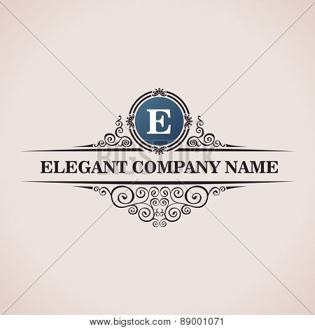 Luxury logo. Calligraphic pattern elegant decor elements. Vintage vector ornament E