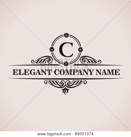 Luxury logo. Calligraphic pattern elegant decor elements. Vintage vector ornament C