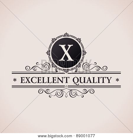 Luxury logo. Calligraphic pattern elegant decor elements. Vintage vector ornament X
