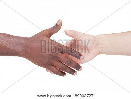 Handshake between caucasian and african man, isolated on white background