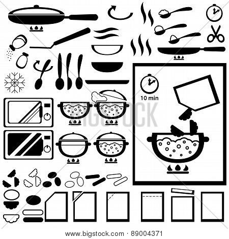 Cooking instruction for design of semi-finished products packing.
