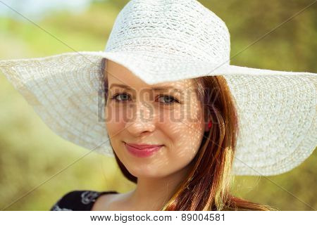 Portrait Of Cheerful Fashionable Woman In Stylish Hat