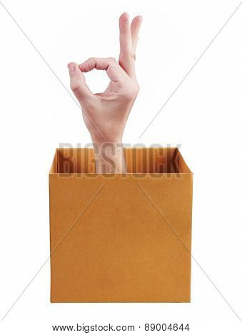Hand In Box Shows Okay