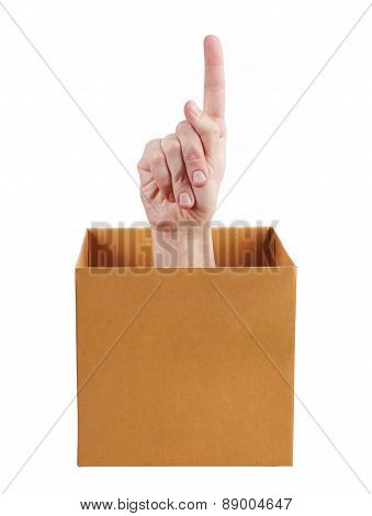 Hand Pointing Up Out Of The Box
