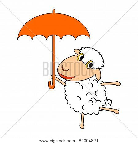 A Funny Cartoon Sheep With An Umbrella