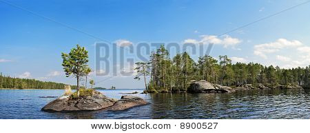 Rock Islands On Blue Lake