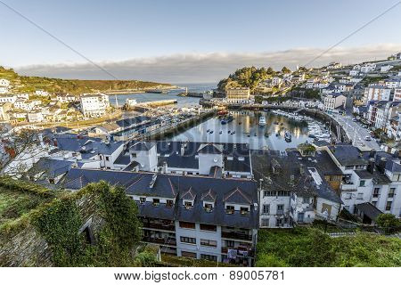 View Of The Port Of Luarca And Homes. Spain