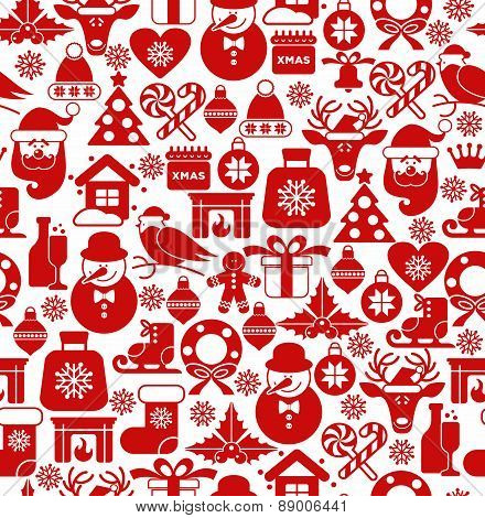 Christmas seamless pattern of icons