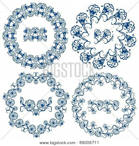 Set Of  Blue Floral Circle Frames. Background In The Style Of Chinese Painting On Porcelain. Ornamen