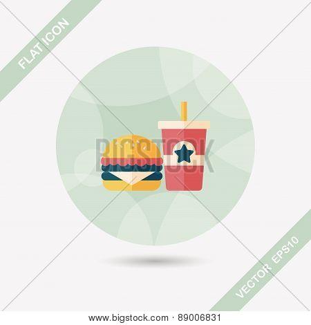 Hamburger And Soda Flat Icon With Long Shadow,eps10