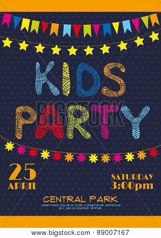 Kids party invitation poster