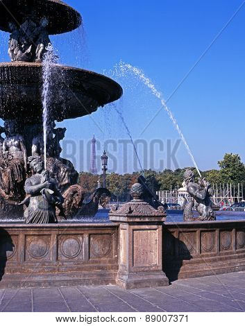 Fountain in Place de la Concorde, Paris.