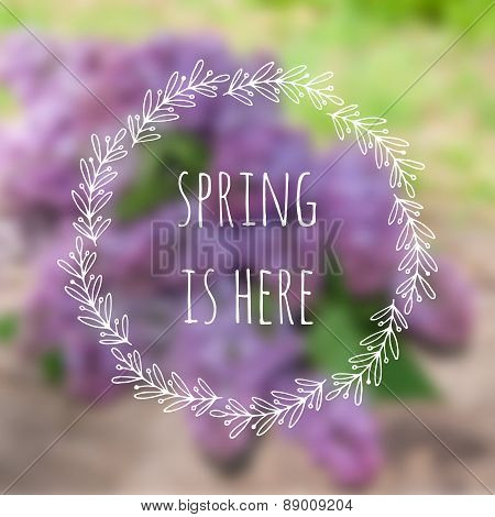 Spring is here. Vector blurred background with lilac flowers