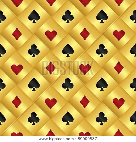Golden Seamless Pattern With Poker Card Symbols
