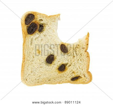 Bitten Raisin Bread Isolated On White Background