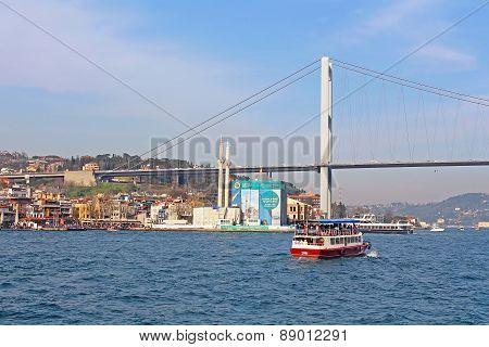 Bosphorus Bridge And Ortakoy Mosque Under Construction In Istanbul