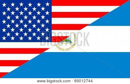 Usa Nicaragua Flag