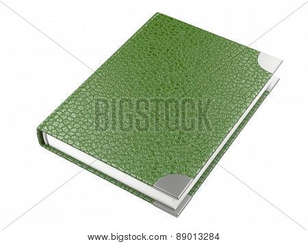 Closed Green Leather Notebook