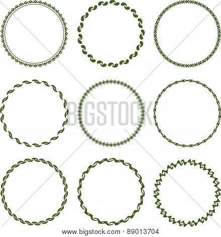 Set of 9 round, lace frame. Vector illustration for your design.