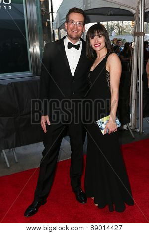 NEW YORK-APR 21: Author John Green (L) and wife Sarah Urist attend the 2015 Time 100 Gala at Frederick P. Rose Hall, Jazz at Lincoln Center on April 21, 2015 in New York City.