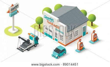 Vector isometric Car Service building icon