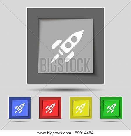 Rocket Icon Sign On The Original Five Colored Buttons. Vector