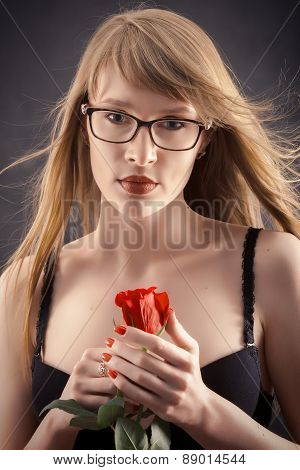 Long Hair And Red Rose