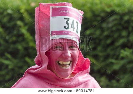 Woman in fancy dress laughing