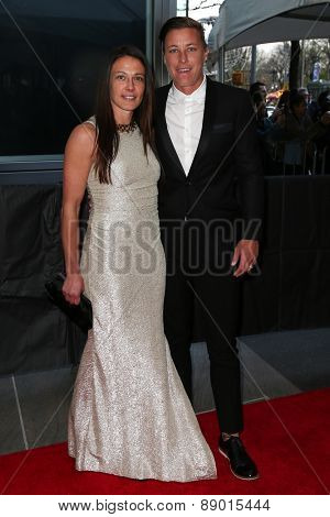 NEW YORK-APR 21: Soccer player Abby Wambach (R) and Sarah Huffman attend the 2015 Time 100 Gala at Frederick P. Rose Hall, Jazz at Lincoln Center on April 21, 2015 in New York City.