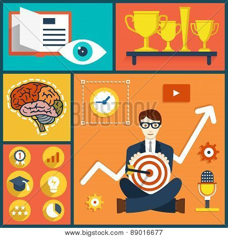 Vector Illustration Concept Of Increase Business Knowledge And Experience. Human Resources And Abili