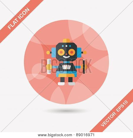 Robot Flat Icon With Long Shadow,eps10