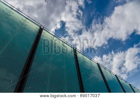 Modern Glass Architecture Building Cloudscape Diagonal View