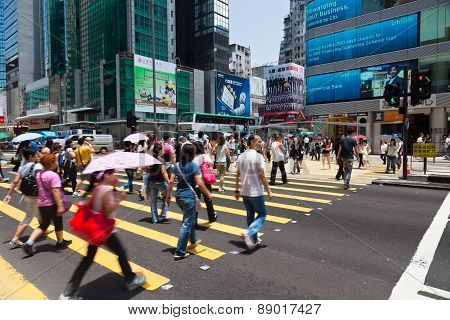 Busy crosswalk in Hong Kong