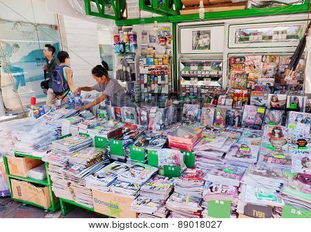 News stand in Hong Kong