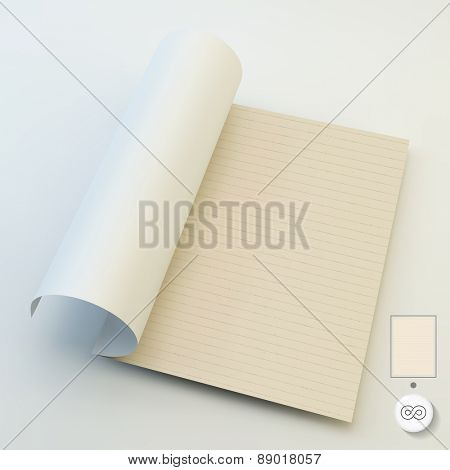 Seamless lined paper. A4 business blank. Can be used for marketing, website, print, presentation, business concepts. Template for design layout. 3d vector illustration.