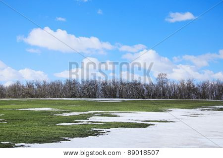 Snow Melt In The Early Spring
