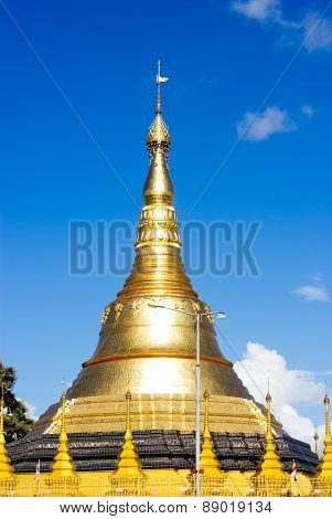 Gold Pagodas, Shrines, And Statues At The Buddhist Shwedagon Paya In Yangon, Myanmar ( Burma )