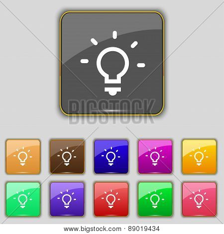 Light Lamp, Idea Icon Sign. Set With Eleven Colored Buttons For Your Site. Vector
