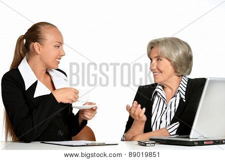 manager and her elderly customer