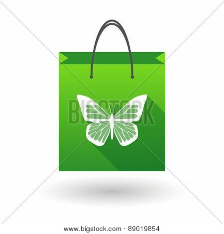 Shopping Bag Icon With A Butterfly