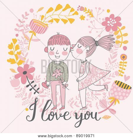 I love you - bright concept cartoon card in vector. Gentle kiss in flowers. Girl and boy on romantic background in spring colors