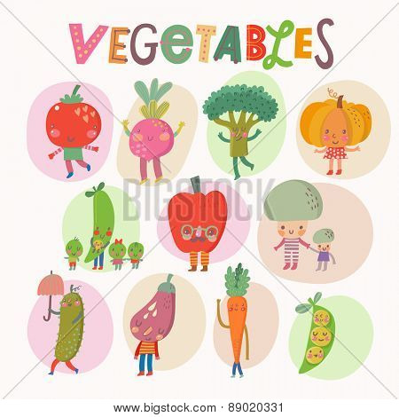 Lovely vegetables concept set in vector. Tasty mushrooms, bell pepper, pumpkin, eggplant, broccoli, beet, pear, tomato, cucumber and carrot in funny cartoon style