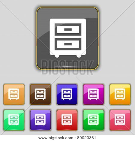 Nightstand Icon Sign. Set With Eleven Colored Buttons For Your Site. Vector