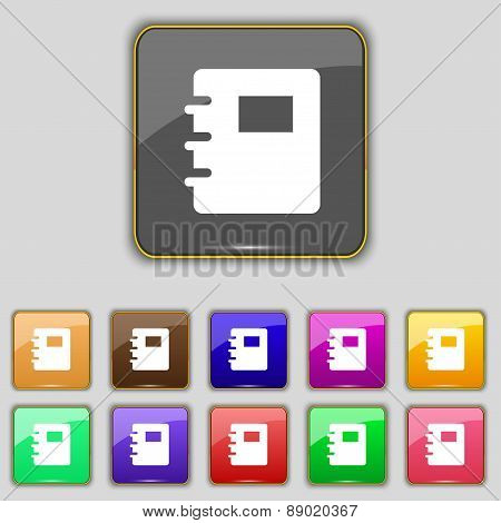 Book Icon Sign. Set With Eleven Colored Buttons For Your Site. Vector
