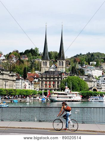 View of the lake and city of Lucerne Switzerland.