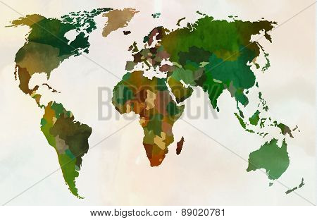 World map - Forest, green camouflage pattern, vector illustration