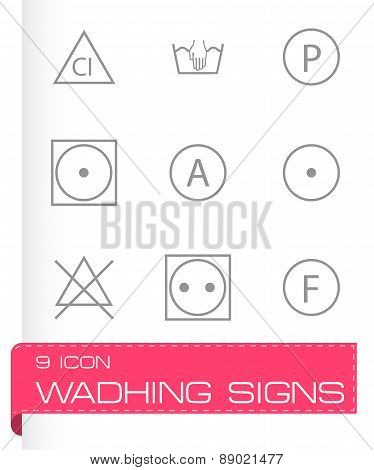 Vector washing signs icons set
