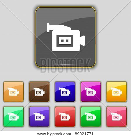 Video Camera Icon Sign. Set With Eleven Colored Buttons For Your Site. Vector